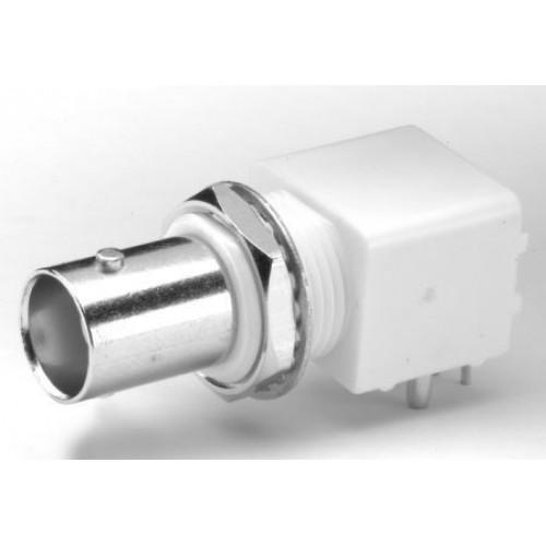 BN-2106 BNC Socket Right Angled PCB 50 Ohm White Low Profile