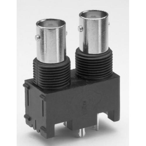 BN-2455 Dual Vertical BNC 50 Ohm Socket