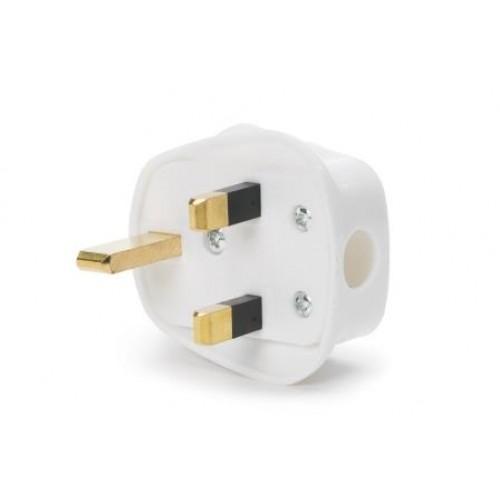 CM-5500 White nylon UK plug, fused at 5 amp
