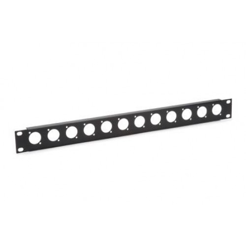 CP-3012 Low cost blank patch panel with 12 D cutouts for EH and XLR connectors.