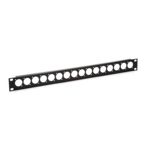 CP-3016 Low cost blank patch panel with 16 D cutouts for EH and XLR connectors.