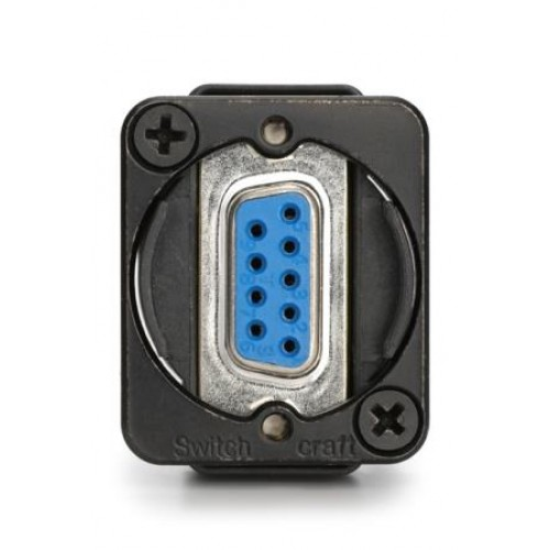 EH-1605 9 way D Socket/Socket Through Panel Coupler Black Bodied Swithchcraft Part Number EHDB9FFB