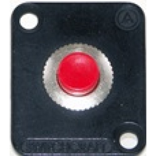 EH-5230 Switchcraft momentary push button switch (red) housed in nickel flange. Switchcraft Part Number EHPBSMR
