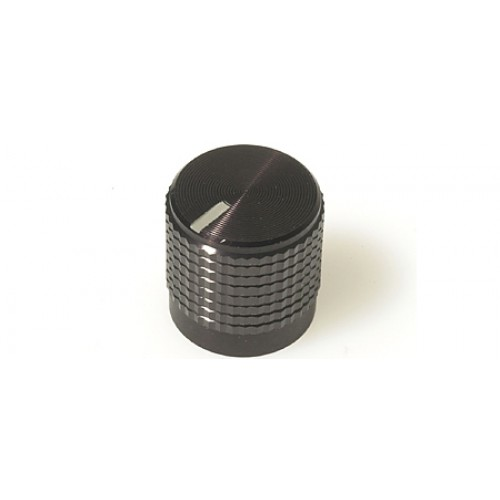 FC7222 Knob KM 12B Black / Marker Line with a Knurled Aluminum shell on plastic inner
