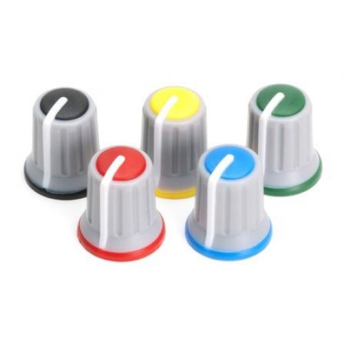 KP-512R Attractive 3 colour miniature rotary control knob GREY, RED, WHITE (Old part number KAP-92004GR)