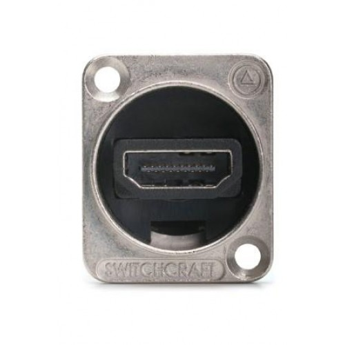 "HM-2081  Switchcraft HDMI through coupler panel socket in Silver ""D"" shell SWITCHCRAFT PART NO: EHHDMIX2"