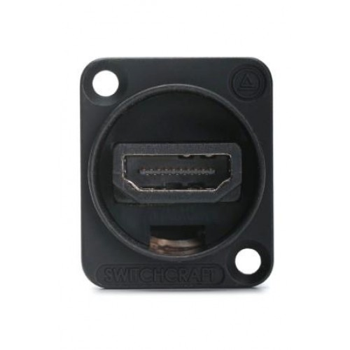 "HM-2082 Switchcraft high quality HDMI through coupler panel socket in Black ""D"" shell  SWITCHCRAFT PART NO: EHHDMIX2B"