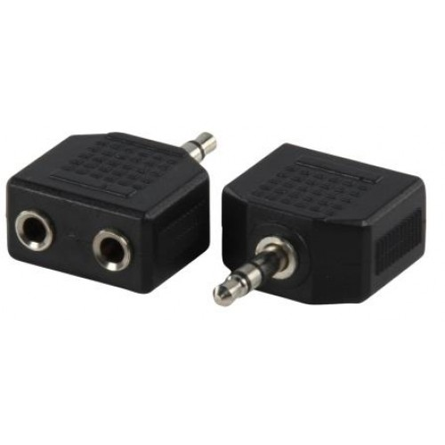 JA-3521 3.5mm Stereo plug to 2 x3.5mm stereo socket jack adaptor. Nickel plated