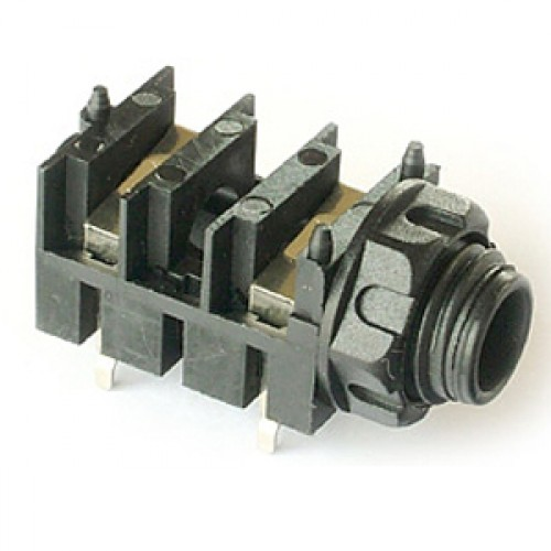 JK-1010 Mono Switched Slimline 6.35mm (1/4 inch) jack socket for PCB mounting.
