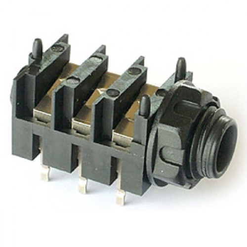 JK-1030 6.35mm slimline stereo switched jack socket for PCB mounting.