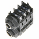 JK-14030 6.35mm Stereo Switched 90deg PCB Mount. External Plastic Thread Nose. Plastic Hex Nut