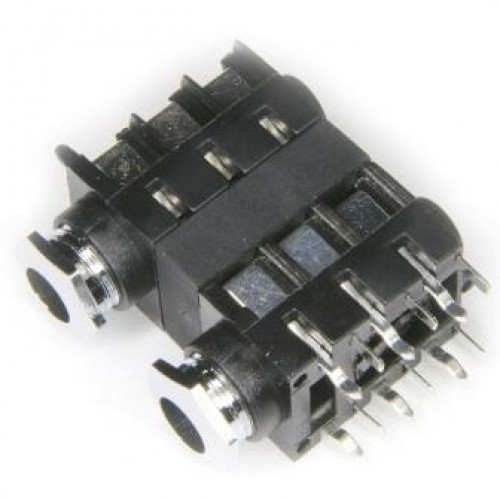 JK-1403 - Dual Stacked Stereo Switched 90 deg PCB Mounting with internal thread nose.