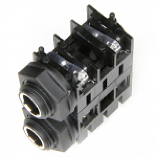 JK-14040 6.35mm Mono Switched 90deg PCB Mount with External Plastic Thread Nose Plastic Hex Nut