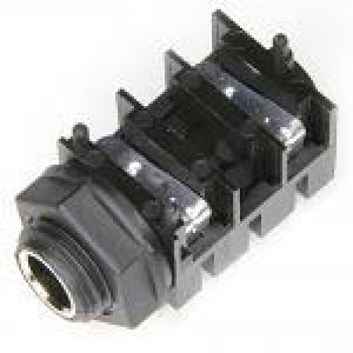 JM-1404 6.35mm Slimline Mono Switched Jack Socket fitted with cosmetic metal nose tube