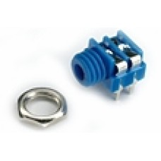 CHK JS-3516BL 3.5mm Blue Mono Switched Jack Socket with panel fixing nut and PCB Pins.