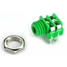 CHK JS-3516GR 3.5mm Green Mono Switched Jack Socket with panel fixing nut and PCB Pins.