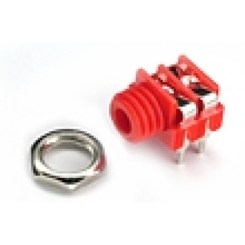 CHK JS-3516R 3.5mm Red Mono Switched Jack Socket with panel fixing nut and PCB Pins.