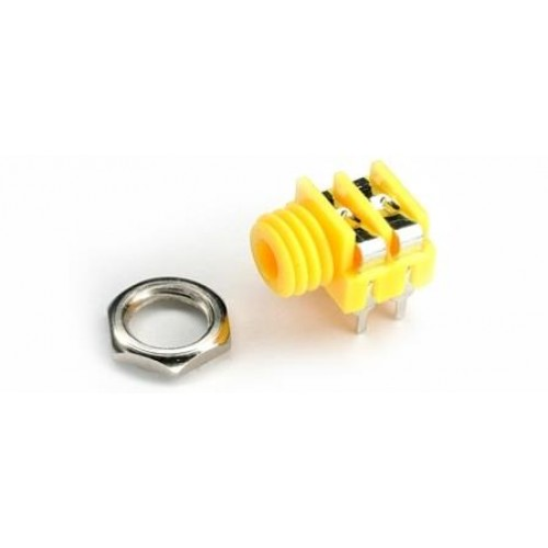 CHK JS-3516Y 3.5mm Yellow Mono Switched Jack Socket with panel fixing nut and PCB Pins.
