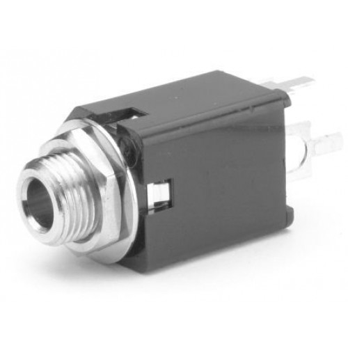 JS-6470 Switchcraft Jack Socket 6.4mm Vertical PCB mounted mono switched contacts. Part Number 112APCX