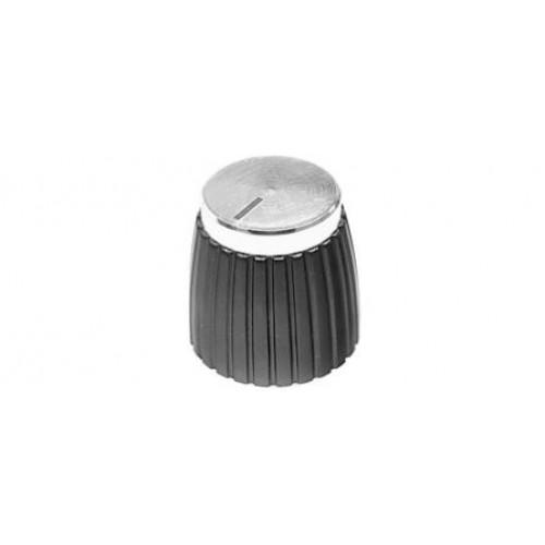KPM-1674 Retro Style Amplifier Knob Spun Aluminum Silver Finish