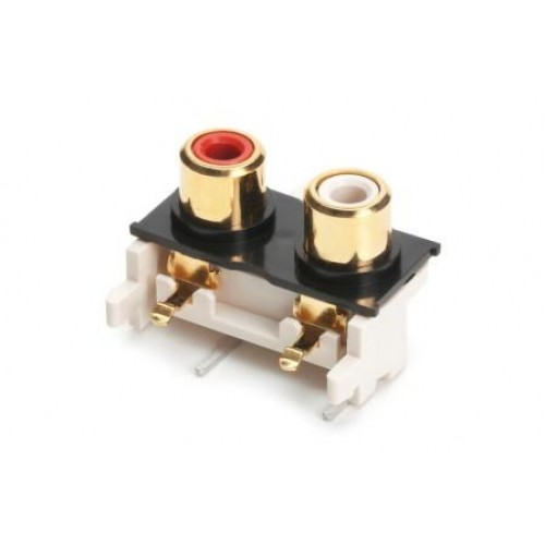 PS-6446 Dual horizontal RAPCB phono socket gold plated