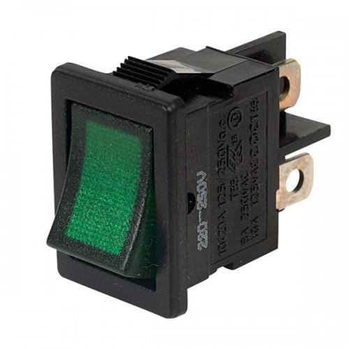 SW-2350 Double Pole Miniature Mains Rocker Switch Green Neon