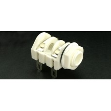 CHK  JT-202W 6.35mm Mono Jack Socket, Unswitched, Solder Tags with White Body