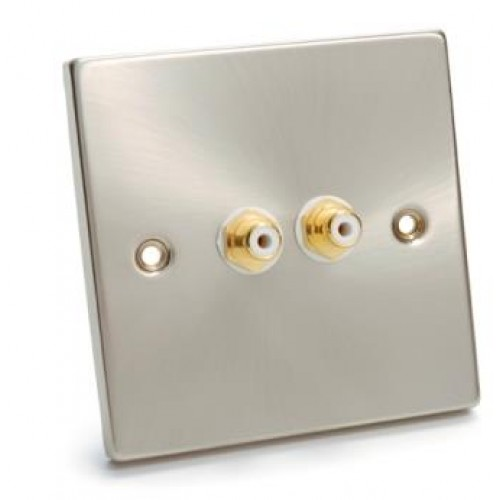 WP-1000: Brush Steel Single Wall Plate 2 Phono Socket