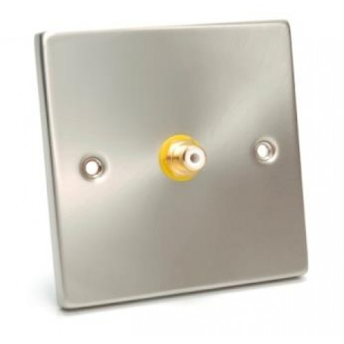 WP-1120 Single Gold Plated Phono Socket, Brushed Steel Wall Plate