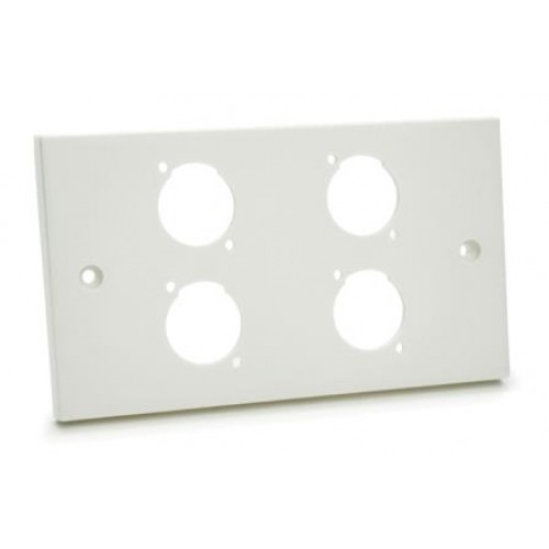 WP-1645 Double white plastic wallplate with 6D cutouts