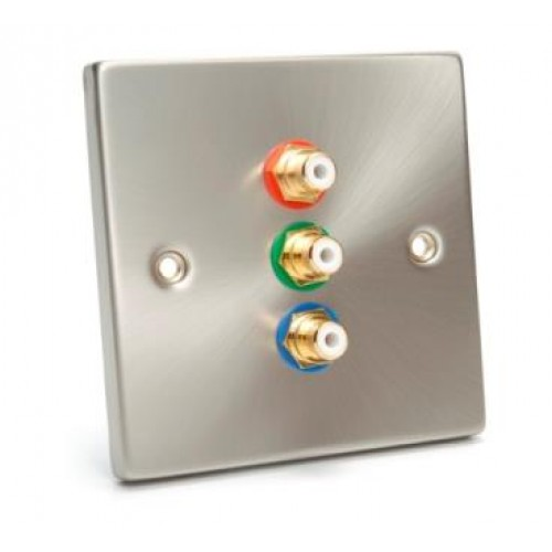 WP-2100: Raised Brush Steel Single Wall Plate for Component Video