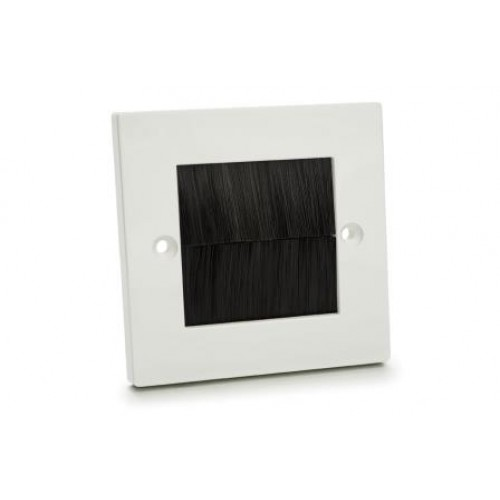 WP-4005: Single Plastic Wall Plate with Black Brush.
