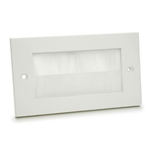 WP-4035: Double White Plastic wallplate with White Brush.