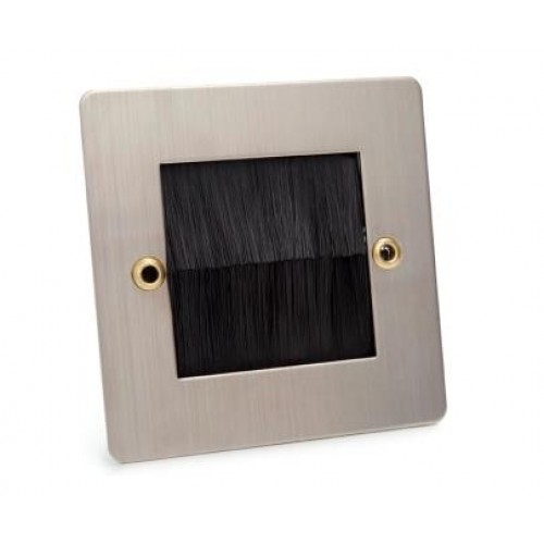 WP-4040 Single Size Wallplate in Brushed Steel Finish with Black