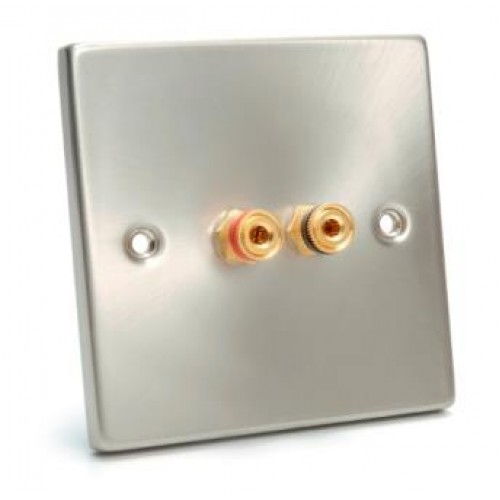 WP-5100 Satin Finish Single Wall Plate 1 Pair of Speaker Posts