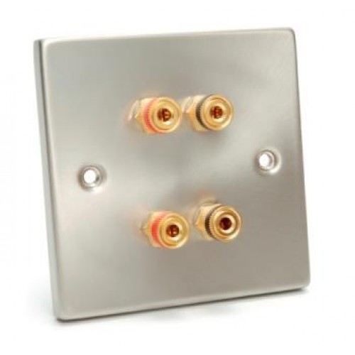 WP-5122 Raised Brushed Steel Wall Plate with 2 Pairs of Speaker Binding Posts.