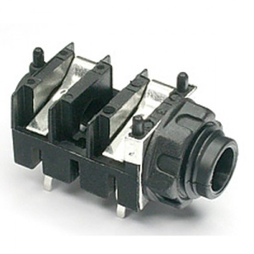 JK-102R  Mono Switched Slimline 6.35mm (1/4 inch) jack socket for PCB mounting with metal Ground Washer / RFI Screen.