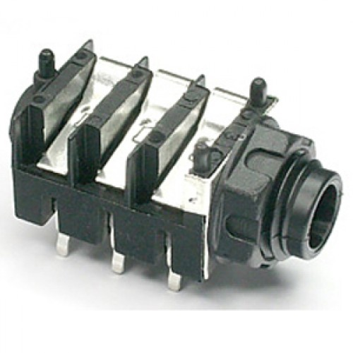 JK-105R Stereo Switched Slimline 6.35mm (1/4 inch) jack socket for PCB mounting with metal Ground Washer / RFI Screen.