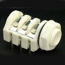 CHK JC-232W Stereo Switched PC-C White 1/4 inch Jack Socket Nylon Nut