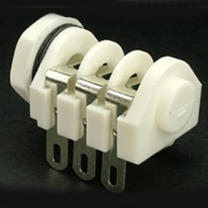 CHK JT-223W Stereo Unswitched 1/4 inch Jack Socket Solder Tags White Nylon Nut
