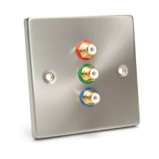 WP-2130: Flat Brush Steel Single Wall Plate for Component Video