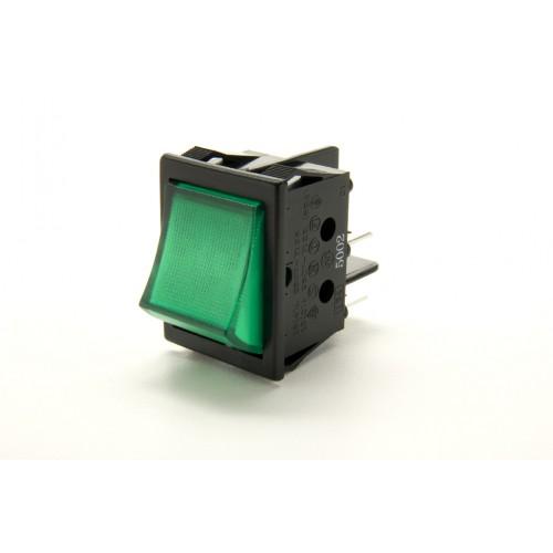 SW-6350 Green Illuminated Wide Bodied DPST Rocker Switch