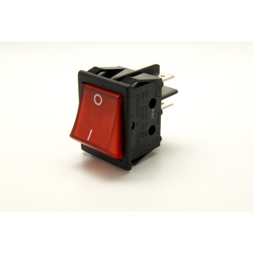 SW-6330 Red Illuminated Wide Bodied DPST Rocker Switch