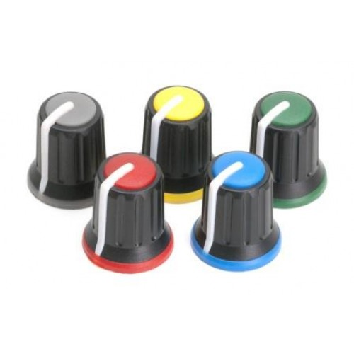 KP-511N Attractive 3 colour miniature rotary control knob BLACK, GREEN, WHITE (CHK old part number KAP-92004BN)