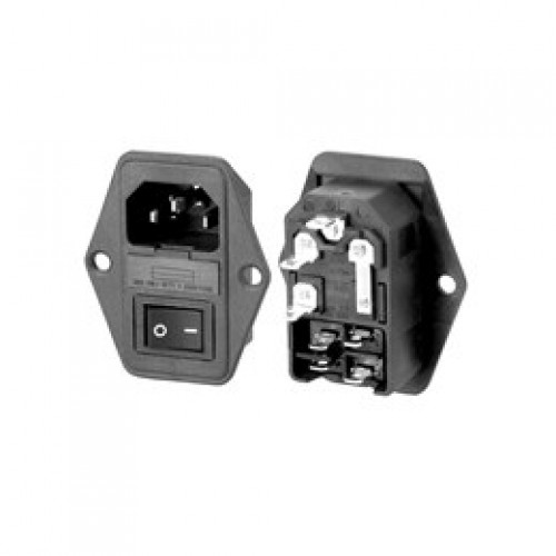 CM-5648 Screw Fix Combined IEC Inlet with Switch and Fuseholder