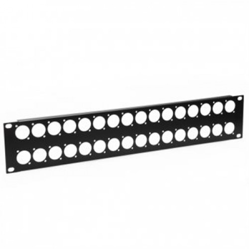 CP-3032 Low cost blank patch panel 2U High with32D cutouts for EH and XLR connectors.