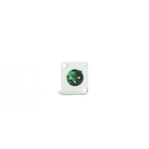 XL-6030W AAA Series 3 pin male panel mount, white metal Switchctraft part number DE3MW