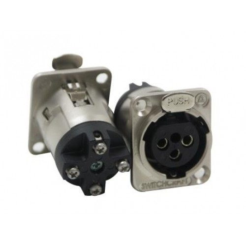 XL-5730 3 Pin XLR Female Panel Socket With Screw Connection At Rear, Silver Shell Switchcraft Part Number E3FBSWEL