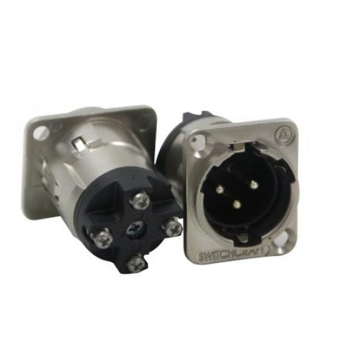 XL-5630 3 Pin XLR Male Panel Plug With Screw Connection at Rear, Silver Shell. Switchcraft Part Number E3MSWEL