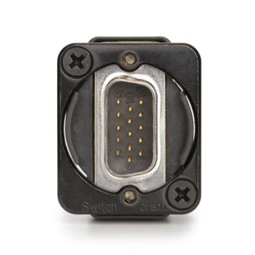 EH-1635 9 way D Plug/Socket Through Panel Coupler Black Bodied. Switchcraft Part Number EHDB9MFB